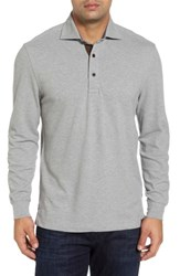 Thaddeus Men's Perry Long Sleeve Polo Silver
