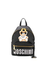 Moschino Logo Patch Medium Backpack Black