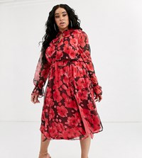 Missguided Plus High Neck Midi Dress In Black And Red Floral
