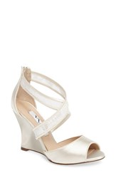 Nina Women's Elyana Strappy Wedge Sandal Ivory Satin