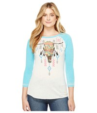 Rock And Roll Cowgirl 3 4 Sleeve Knit 48T2102 Bright Turquoise Women's Clothing Blue
