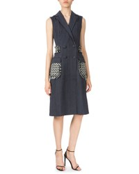 Altuzarra Pinstripe Long Vest W Braided Detail Navy White Navy White