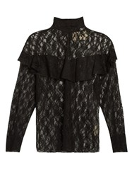 A.W.A.K.E. Punk Lace Ruffled Blouse Black