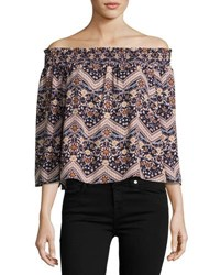 On The Road Lita Floral Chevron Printed Top Blue Pattern