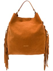 Twin Set Fringed Tote Bag Brown