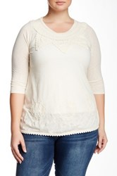Lucky Brand Embroidered 3 4 Length Sleeve Tee Plus Size Beige