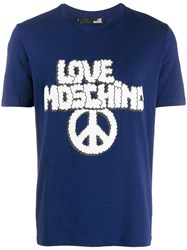 Love Moschino Logo And Peace Sign T Shirt Blue
