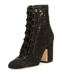 Laurence Dacade Milly Crocheted Lace Up Ankle Boot Black