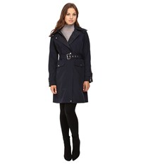 Vince Camuto Belted Raincoat With Removable Hood L8131 Navy Women's Coat