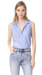 Frank And Eileen Fiona Sleeveless Blouse Wide Blue Stripe