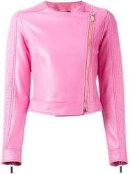 Versace Greca Embossed Jacket Pink And Purple