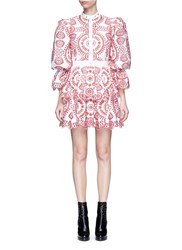 Alexander Mcqueen Floral Broderie Anglaise Puff Sleeve Tiered Dress