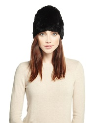 Adrienne Landau Knit Rabbit Fur Hat Black