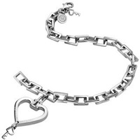 Zoppini Stainless Steel Heart And Key Charm Bracelet