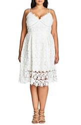 City Chic Plus Size Women's 'So Fancy' Lace Sundress Ivory