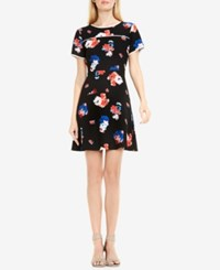 Vince Camuto Floral Print Fit And Flare Dress Rich Black