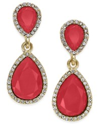 Inc International Concepts Gold Tone Stone Teardrop Drop Earrings Only At Macy's Rose