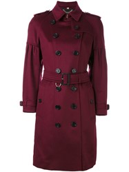 Burberry Belted Trench Coat Women Cashmere 10 Red