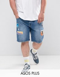Asos Plus Slim Denim Shorts In Mid Wash Blue With Patches Mid Wash Blue