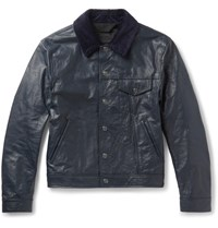 Acne Studios Arno Slim Fit Corduroy Trimmed Leather Jacket Navy