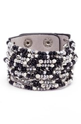 Cristabelle Women's Beaded Leather Cuff