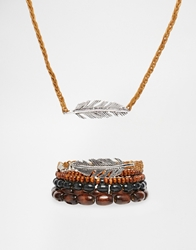 Asos Beaded Necklace And Bracelet Pack With Feather Brown
