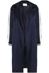 Sandro Message Satin Trimmed Shantung Coat Navy