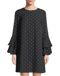 Cynthia Steffe Bell Sleeve Polka Dot Dress Rich Black