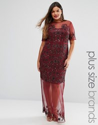 Lovedrobe Luxe Sheer Embellished Maxi Dress Burgundy Red
