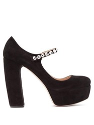Miu Miu Suede Embellished Platform Mary Jane Pumps Black