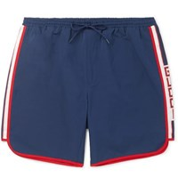 Gucci Short Length Grosgrain Trimmed Swim Shorts Navy