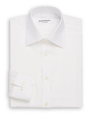 Yves Saint Laurent Regular Fit Solid Linen Dress Shirt White