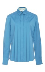 Alexis Mabille Long Sleeve Pleated Shirt Blue