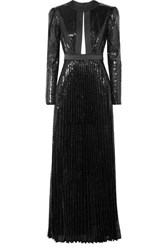 Philosophy Di Lorenzo Serafini Satin Trimmed Sequined Tulle Gown Black