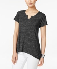 Styleandco. Style Co. Ribbed High Low T Shirt Only At Macy's Deep Black