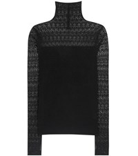 Polo Ralph Lauren Lace Panelled Silk Blend Sweater Black