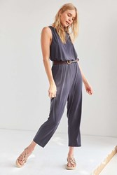 Silence And Noise Cupro Surplice Back Jumpsuit Washed Black