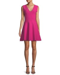 Milly Scalloped Trim Fit And Flare Dress Raspberry