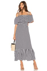 Mds Stripes Rebecca Ruffle Dress Navy