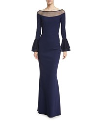 La Petite Robe Di Chiara Boni Giuly Illusion Trumpet Sleeve Evening Gown Dark Blue