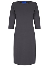 Winser London Crepe Three Quarter Sleeve Shift Dress Dark Grey