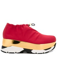 Marni Neoprene Drawstring Platform Sneakers Red