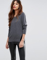 Sisley Round Neck Sweater With Side Split Gray