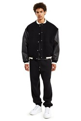 Alexander Wang Leather Combo Varsity Jacket Black