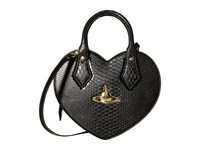 Vivienne Westwood Frilly Snake Heart Black Satchel Handbags