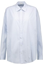 Tanya Taylor Striped Cotton Poplin Shirt Sky Blue