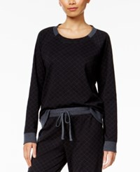 Alfani Quilted Style Pajama Top Only At Macy's Deep Black Heather
