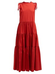 Red Valentino Redvalentino Laced Tiered Cotton Blend Dress