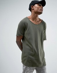 Criminal Damage Waffle Knitted Relaxed Fit T Shirt In Olive Green