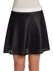 Saks Fifth Avenue Red Basketweave Flounce Skater Skirt Black